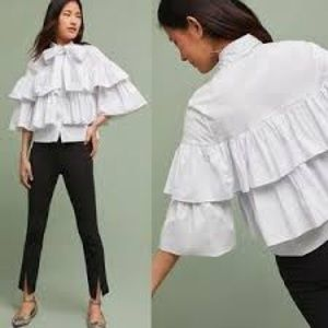 Anthro 5of7 tiered poplin tie neck blouse Small